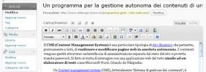 La scrittura di un nuovo articolo all'interno dell'area di amministrazione contenuti di WordPress