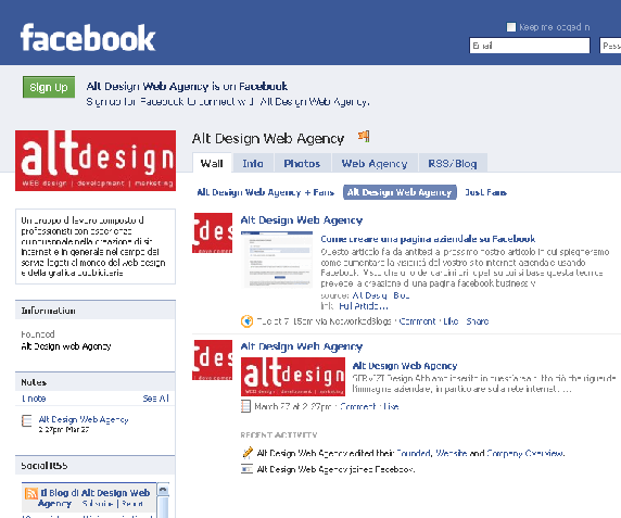 pagina facebook di alt design web agency con blog aziendale