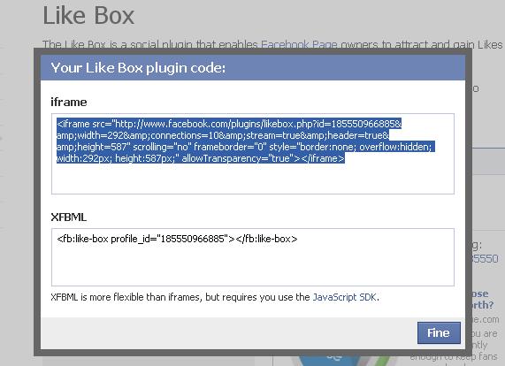 popup codice iframe like box
