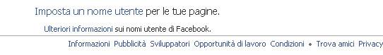 imposta nome utente facebook