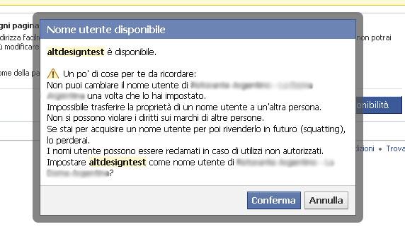 ultimo passo cambio nome utente facebook