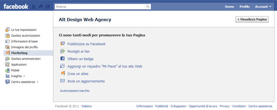 modifica pagina facebook