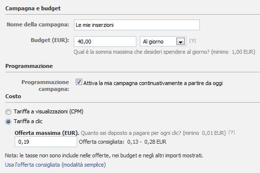 costo pubblicita facebook