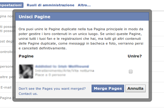 facebook unisci pagine doppie